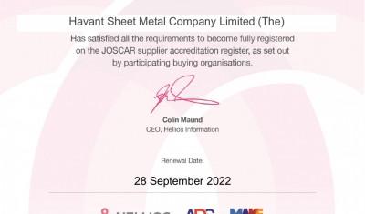 JOSCAR-Certificate-_Havant-Sheet-Metal-Company-Limited-_The__
